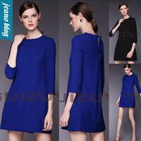 Elegant Slim Royal Blue Office Lady Dress 2014 Summer Autumn Women Work Wear Party Novelty Dresses