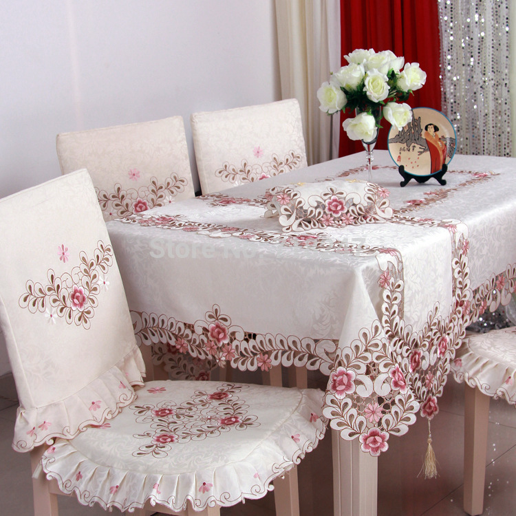 Hot Sale Elegant Polyester Satin Jacquard Embroidery Floral Tablecloths Handmade Embroidered Table Cloth Cover Overlays YYM809(China (Mainland))