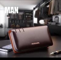 2014 new arrival men genuine leather fashion business day clutch handbag organizer checkbook wallets  men's purse free shipping