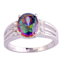 Fashion Jewelry Unisex  Oval Cut Mystic Rainbow Topaz & White Sapphire 925 Silver Ring Size 6 7 8 9 Wholesale Gift Free Shipping