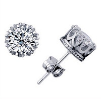 Crown Earings Silver for Men/Women Girls Friends Gifts Small Stud Crystal Rhinestone White Cheap High Quality Earring Sale Y048