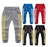 SL-118, children girls boys pants, sport stripe trousers, casual pants, 100% cotton terry