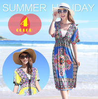 HOT SALE New Arrival Sexy Fashion Summer Casual Printed Beach Dress With Beachwear Neon V-neck Dress(S-XXL)