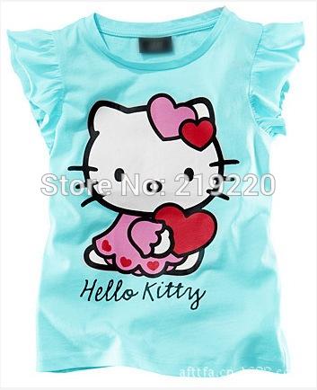 2pcs Children kids Hello kitty tops tee t shirt girls boys t shirt summer short sleeve t shirt 2-6Year blue colors free shipping(China (Mainland))