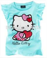 2pcs Children kids Hello kitty tops tee t shirt girls boys t shirt summer short sleeve t shirt 2-6Year blue colors free shipping