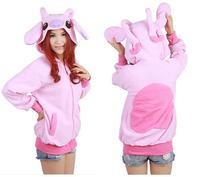 Pink Cute Stitch Anime Animal Cartoon Unisex Stitch Hoodie with Ears Hooded Hoody Coat Jacket Warm Polar Fleece, S M L XL