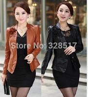 Fashion Women Faux Leather Jacket L--5XL Plus Size Rose/Black/Blue, Slim Senior PU Jackets Coat Ladies Beautiful #JM06682