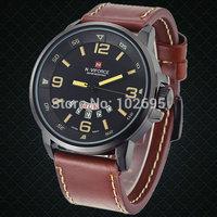 2014 NEW Brand NAVIFORCE military watch Vogue men Leather  Waterproof Date Day Quartz Analog Clock Army Mens sports Wrist Watch