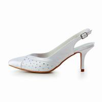 Elegant Satin Womens Stiletto Heel Slingback Pumps With Rhinestone Wedding Shoes Cy0101