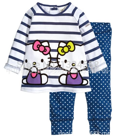 2014 kids clothing hello kitty set girls long-sleeve t shirt pants kids pajama sets children clothes winter children hoodies(China (Mainland))