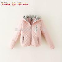 Girls Coat Children Outerwear & Coats Fashion Plaid Design Hooded Winter Jacket Coat for Girls 2-8Y 2014 European Kids Jackets