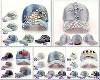 2015 Fashion women Sun-shading baseball cap ,Denim and cotton Rhinestones peaked cap,bling bling Casual snapback hats 25pcs/lot