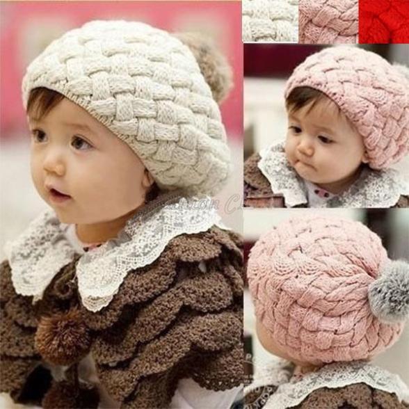 2014 winter Girl Boy Newborn Cute Baby Hat Children Kids Warm Knitting Wool Crochet Beanie Hats Soft Nap Outfits 3Colors 5400(China (Mainland))