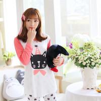 2014 autumn sleepwear female cat lounge long-sleeve skinny pants sleep set--Free shipping