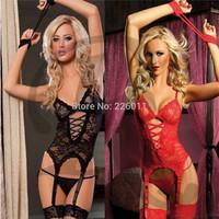 1Pcs Newest Women's Lace Sleepwear Black Red Sexy Underwear Erotic Lingerie Nightwear Set