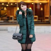 New 2014 jacket winter coat thicken Slim female raccoon fur collar and long coat women parka winter coat plus size L,XL,XXL,3XL