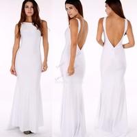 New Fashion Women Sexy Elegance Backless Long Wedding Dress Club Evening Party Bodycon Maxi White Dress B16 SV004936