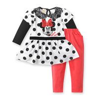 2014 New Arrive Autumn Ruffle Girl Outfits Cotton Conjunto de roupa Casual Baby Clothes 3pcs set Girls Clothing set
