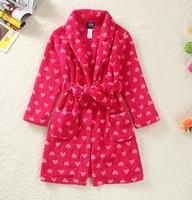 Children's autumn winter fashion Sleepwear, Europen-American style red love coral fleece female child robe
