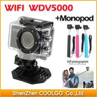 WDV5000 Gopro Hero3 Style Action Wifi Camera Wifi Control 1080P Full HD IR Remote Control Waterproof Sport Camera + Monopod