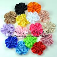 "(120pcs/lot)2"" 16 Colors High Qulity Silk Petal Flower For Sweety Children Flat Back Ruffled Flower Accessory For Headband"