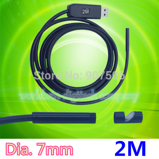 Dia 7mm 2m USB Endoscope Pipe Inspection Camera Borescope 6 LEDs IP67 Waterproof Mini PC Tube Snake Side-view Mirror as gift(China (Mainland))
