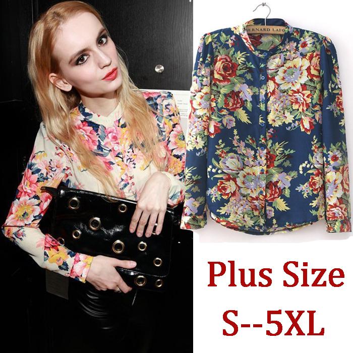 6XL 5XL 4XL XXXL Plus Size Woman Blouse Blusas Full Long Sleeve Floral Print Chiffon Shirt Autumn Blue 2014 Women Clothing(China (Mainland))
