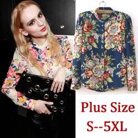 6XL 5XL 4XL XXXL Plus Size Woman Blouse Blusas Full Long Sleeve Floral Print Chiffon Shirt Autumn Blue 2014 Women Clothing