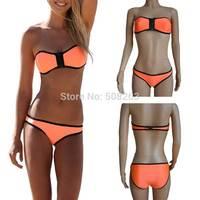 Hot Sell 2014 New Summer Sexy Neoprene Swimwears MILLY Neoprene Bikinis Woman Swimsuit Set Push Up Bikini Set S-XL B-BK89