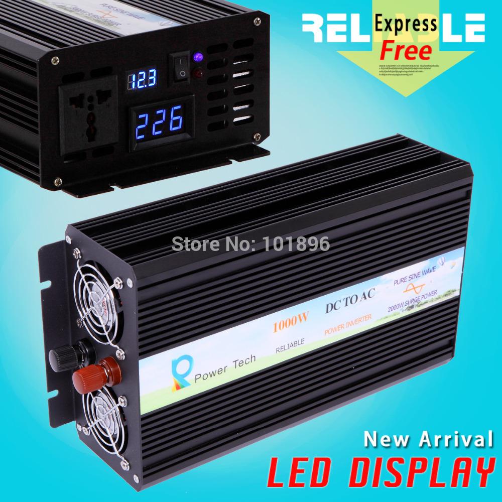 Hot sales LED Display Factory Direct 1000W Power Inverter Pure Sine Wave Output 12V 220V Inverter(China (Mainland))