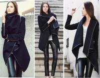 Women Winter Long Trench Zipper Coat  casacos femininos New 2014Fashion Autumn Jacket Sobretudo Female Woollen desigual Overcoat