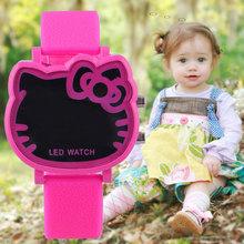 Hello Kitty Cute LED Digital Rubber Band Fashion Watch Men Women Sports Casual Kids Gift Watches 2014 New Fashion Free Shipping(China (Mainland))