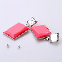 Fashion vintage exaggerate big yellow/blue/pink square drop earrings for women jewelry free shipping