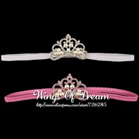 (30pcs/lot)2 Colors Pearl Crown Headband Accessories For Princess New Arrival Fashion Crystal Tiaras Hair Band For Girls