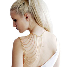 2014 New Hot Womens Sexy Selling Golden Silver Harness Tassels Sexy Body Necklace Alloy Multi layers