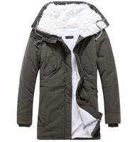 down & parkas 2014 winter jacket men cotton-padded keep warm fur hooded long coat vetement