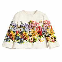 2015 New girls Ivory Floral Jacket Italy Design Brand Child Coat