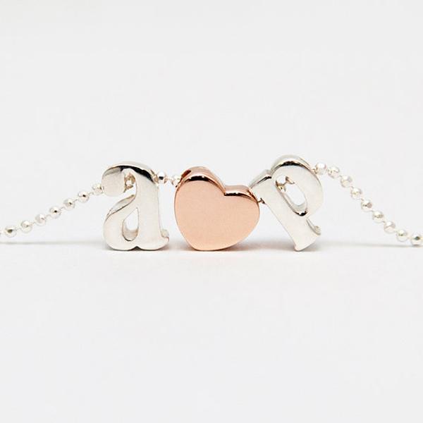 Custom Initial Letter Necklace Heart Brand Cheap Costume Jewelry corrente de prata pendant necklace My Orders