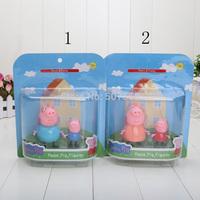 2sets 6-9cm Peppa pig family Plastic dolls Peppa pig George pig Mummy Daddy Pig Action Figures PVC toy 2pcs=1box=1set