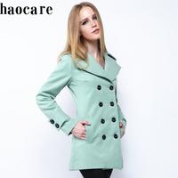 women autumn wool jacket 2014 new medium-long green turn-down collar double breasted winter woollen coat plus size coat DF14W004