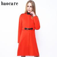 New 2014 hotsell women wool coat fashion autumn winter long red leather loops epaulet woollen coat  plus size overcoat DF14W006