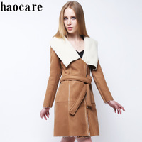 2014 new women winter luxury leather fur coat long brown turn-down collar belt cardigans coat 3XL plus size women coat DF14P010