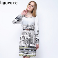 Women plus size dresses 2014 new autumn winter new design o-neck scenery print knee-length dress ladies casual dress DF14L007