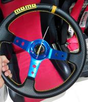 Free shipping 2014 MOMO steering wheel modified car / 350MM PVC carbon fiber racing wheel / blue good quality