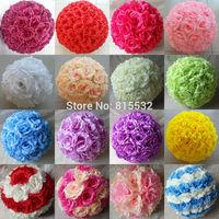 20cm / 8 inch Wedding Decorations Silk Kissing Pomander Artificial Rose Flowers Balls Wedding Party Bouquet Decor Colors
