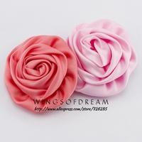 "(30pcs/lot)3"" 8 Colors Newborn Handmade Rolled Rosette Flower Artificial Matte Satin Flowers For Baby Headband Hair Accessories"
