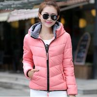Clearance Warm Down Coat Female Autumn Winter Coat Slim Design Short Cotton-padded Jacket Outerwear with Hood Down & Parkas XXXL