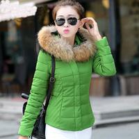 2014 New Women Winter Jacket Short Design Slim Wadded Jacket  Fur Collar Outerwear Lady Cotton-padded Jacket Jaqueta Feminina