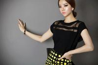 2014 HOT Sale fashion women's shirts loose short sleeved chiffon blouse lace organza coat free shipping