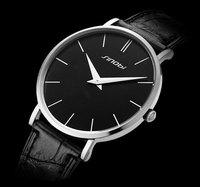2014 New SINOBI Brand Genuine Leather Strap Watch for Mens Man Slim Quartz  Analog Military Watch Waterproof Wristwatch